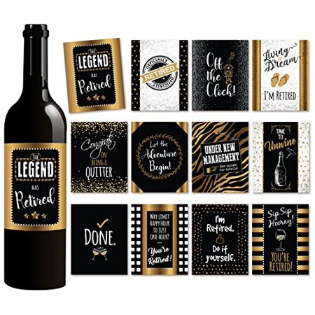 12 Retirement Wine Bottle Labels | Retirement Gift and Party Decorations |  Set of 12 Funny WATERPROOF Stickers