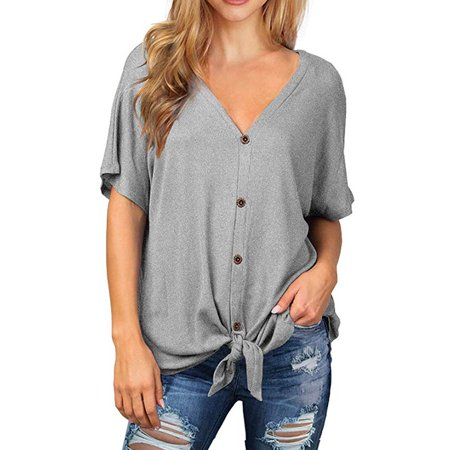 Womens Knit Tunic Blouse Tie Knot Short Sleeve Henley Tops Loose Fitting Bat Wing Shirts (Loose Fitting)