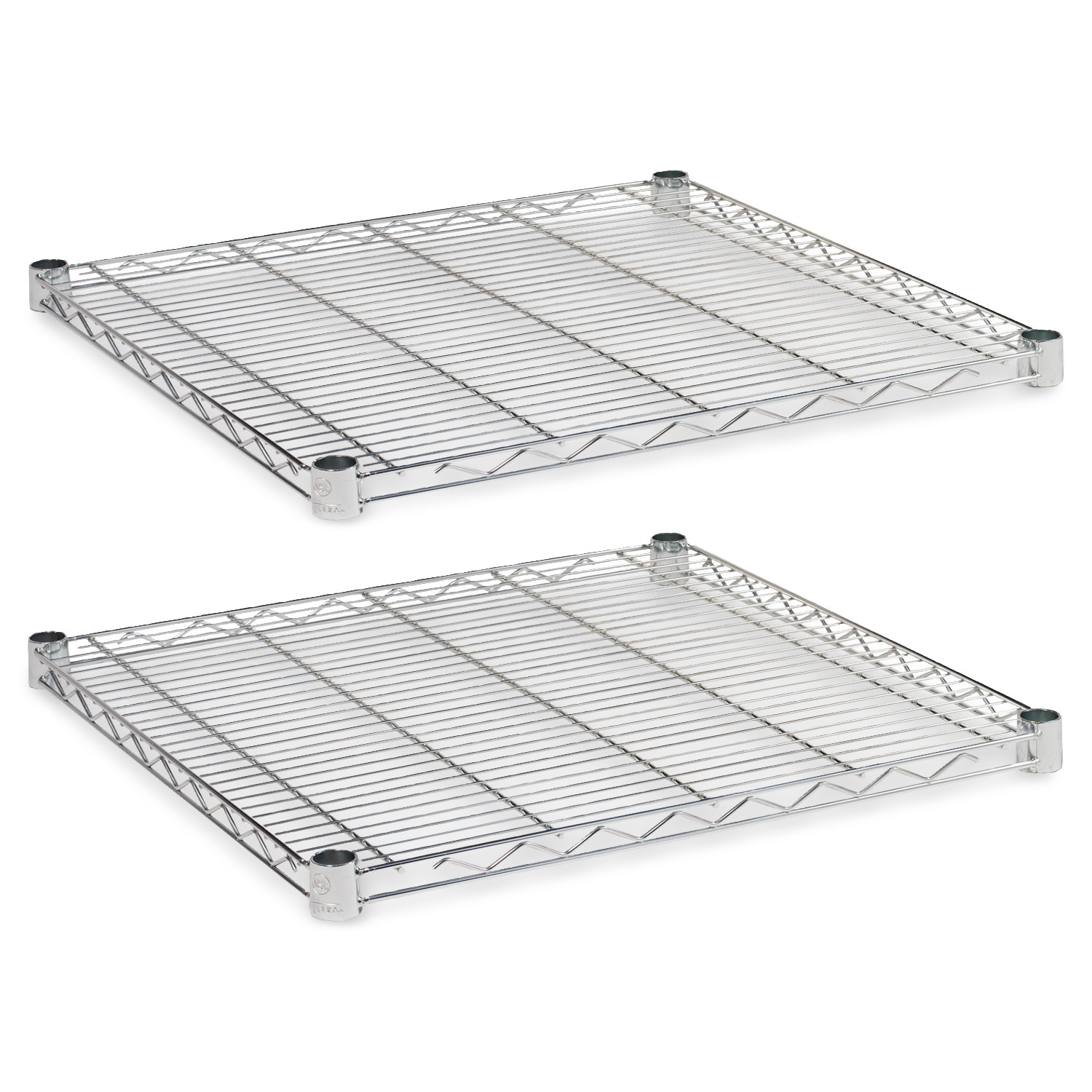 """Alera Industrial Wire Shelving Extra Wire Shelves, 24"""" x 24"""", 2-Pack, Available in Silver or Black"""