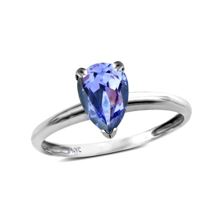 Star K Classic Solitaire 8x6 Pear Shape Genuine Tanzanite Engagement Promise Ring
