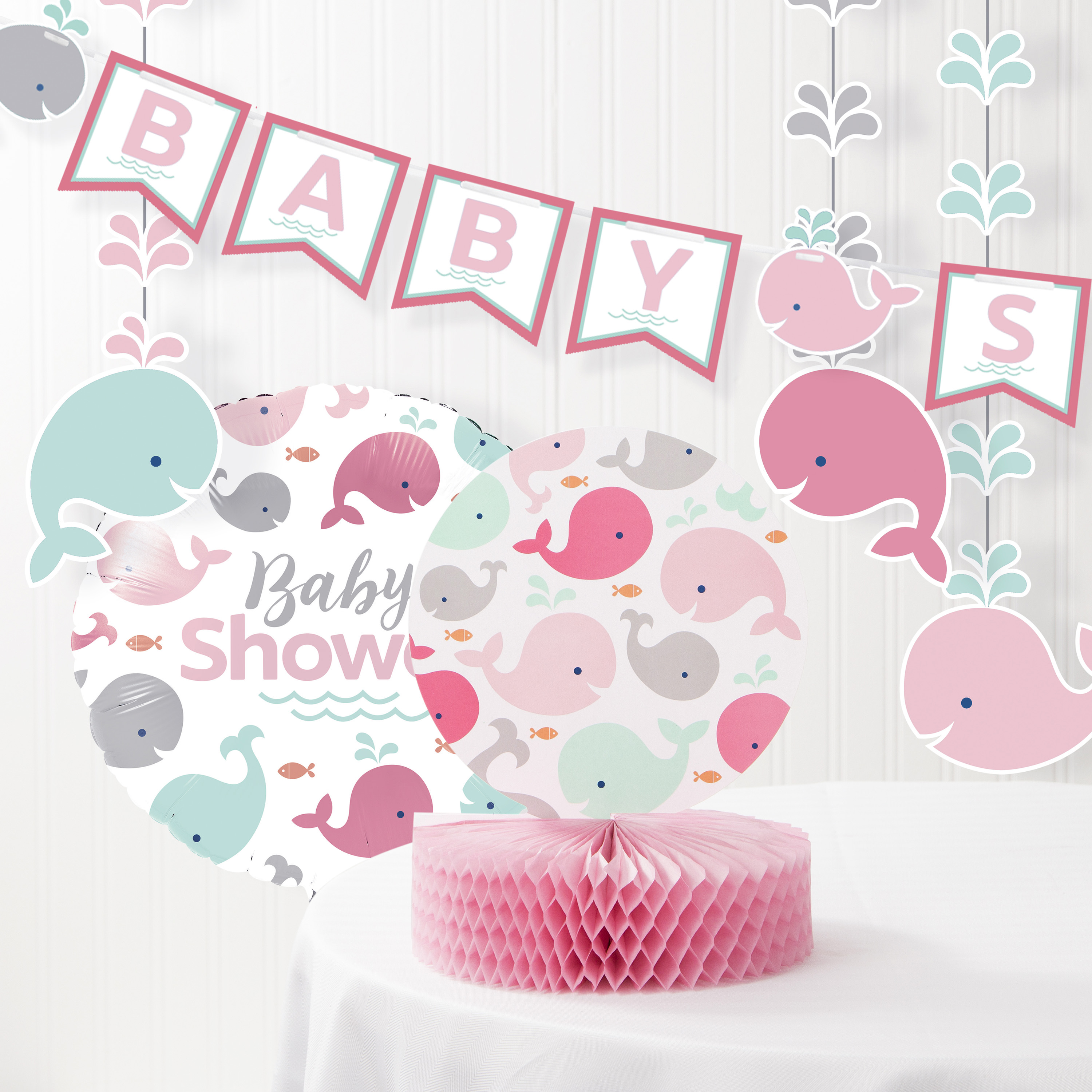 Includes Table Cover Service For 24 Baby Girl Pink Whale Theme Baby Shower Disposable Tableware Package