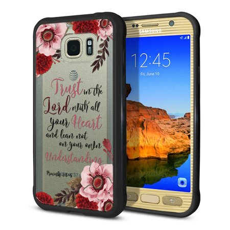 FINCIBO Slim TPU Bumper + Clear Hard Back Cover for Samsung Galaxy S7 Active, Christian Quotes Proverbs