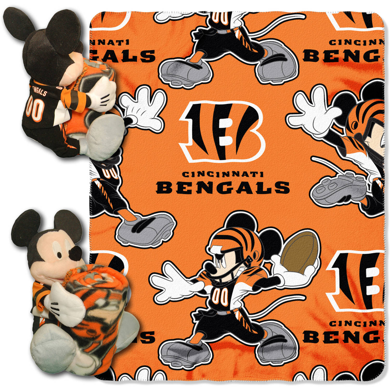 "Disney NFL Cincinnati Bengals Hugger Pillow and 40"" x 50"" Throw Set"