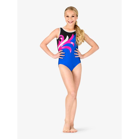 6a6635562007 Gorgeous leotard features tank straps, contrast trim, dual-toned bodice,  and a contrast swirl front print. Girls Gymnastics Spliced Pattern Tank  Leotard