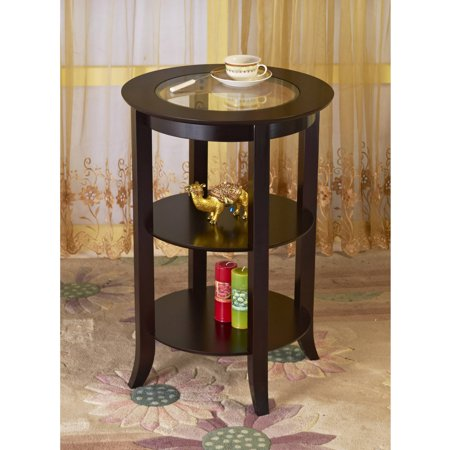 Home Craft Wood Round Side/Accent Table with 2 Shelves, Espresso Finish
