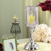 Efavormart Silver Lace Design Amber Glass Hurricane Candle Holder Table Centerpiece