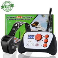 WALFRONT Dog Fence & Rechargeable Dog Training System 2 in 1 Kit with Training Collar,Dog Fence Dog Training System