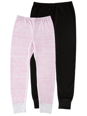 Fruit of the Loom Girls Super Soft Waffle Thermal Pants - 2 Pack