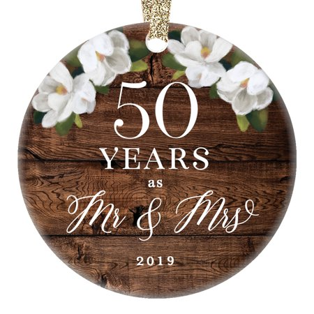 Christmas 2019 Mr. & Mrs. Ornament 50th Fiftieth Golden Wedding Anniversary Ceramic 50 Fifty Years Married Couple Rustic Floral 3