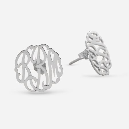 Monogrammed Sterling Silver Jewelry (Personalized Sterling Silver Monogram Stud Earrings)