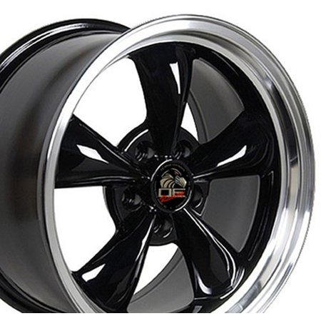 Black Bullitt Wheel - OE Wheels 18 Inch Fits Ford Mustang 94-2004 Bullitt Style FR01 18x9 Rims Gloss Black Machined Lip SET