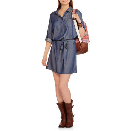Faded Glory Women's Belted Woven Shirt Dress by