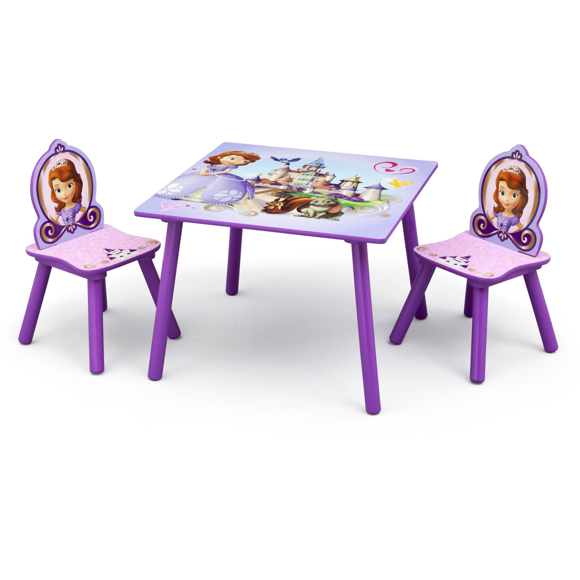 Disney Jr. Sofia the First Table and Chairs Set, Lavender - Walmart.com