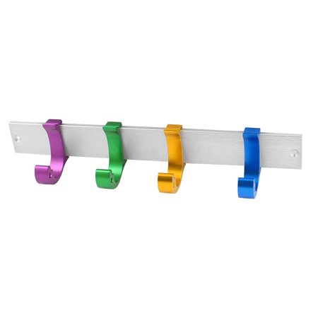 ... Unique Bargains 4 Colorful Hook Aluminum Decorative Wall Hook Rail Coat  Rack