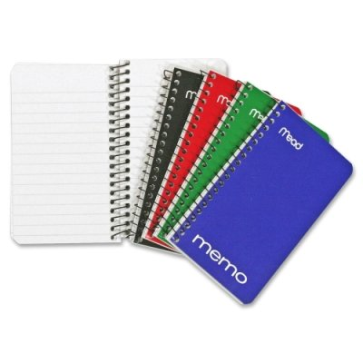 "Memo Book, College Ruled, 5"" x 3"", Wirebound, 60 Sheets, Assorted colors, 12 Pack, 12 Pack By Mead"