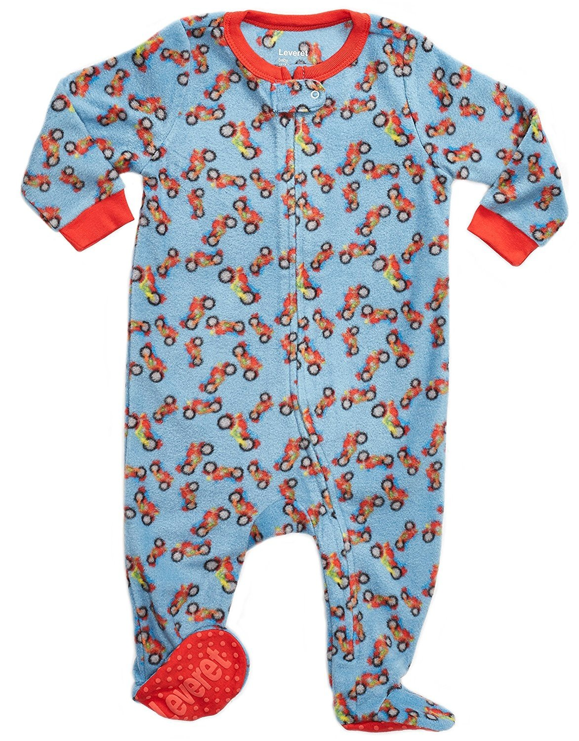 Leveret Fleece Footed Pajama Sleeper Motorcycle 12-18 Months