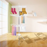 FAGINEY Clothes Hanger, Clothes Line Airer Rack Indoor Steel Drying Space Foldable Portable