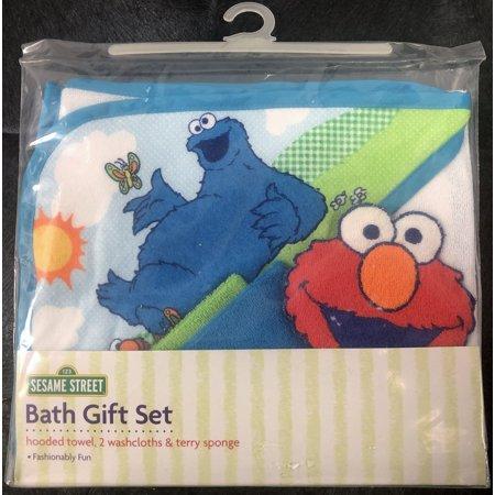 Sesame Street Elmo Amp Cookie Monster Bath Gift Set Hooded