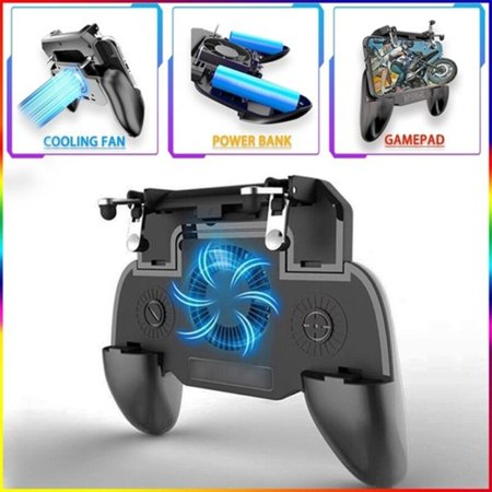 For PUBG Cooler Cooling Fan L1 R1 Shooter Controller Handle Joystick Metal Trigger Mobile Game Pad , with 2000/4000mAh Power -
