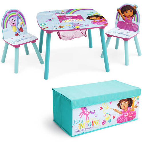 Nick Jr. Dora the Explorer Table & Chair Set with Fabric Toy Box Playroom Value Bundle