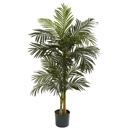 Nearly Natural 5-ft. Artificial Golden Cane Silk Palm Tree, (Roshe Run Poison Green Palm Trees For Sale)