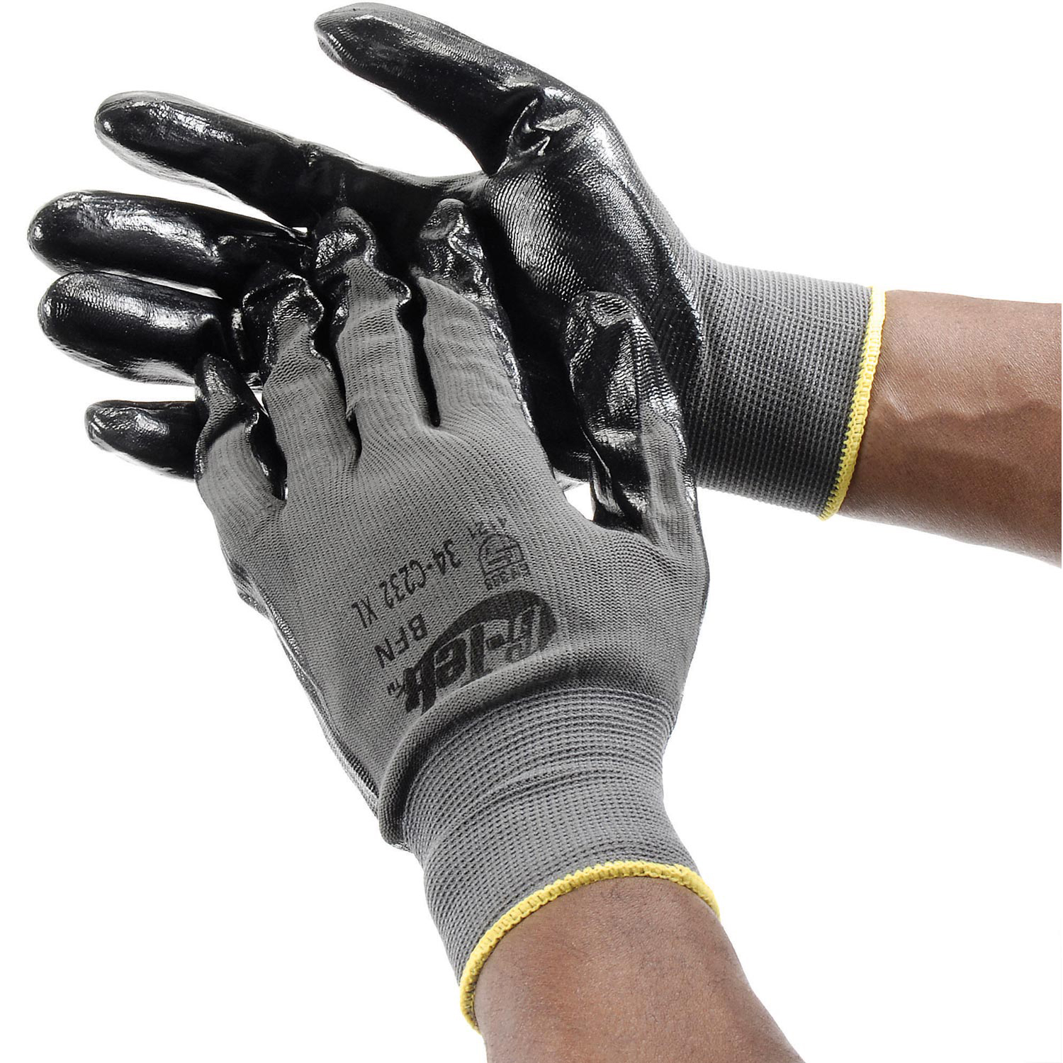PIP G-Tek® Nitrile Coated Nylon Grip Gloves, Black/Gray, Large, 12 Pairs, Lot of 1