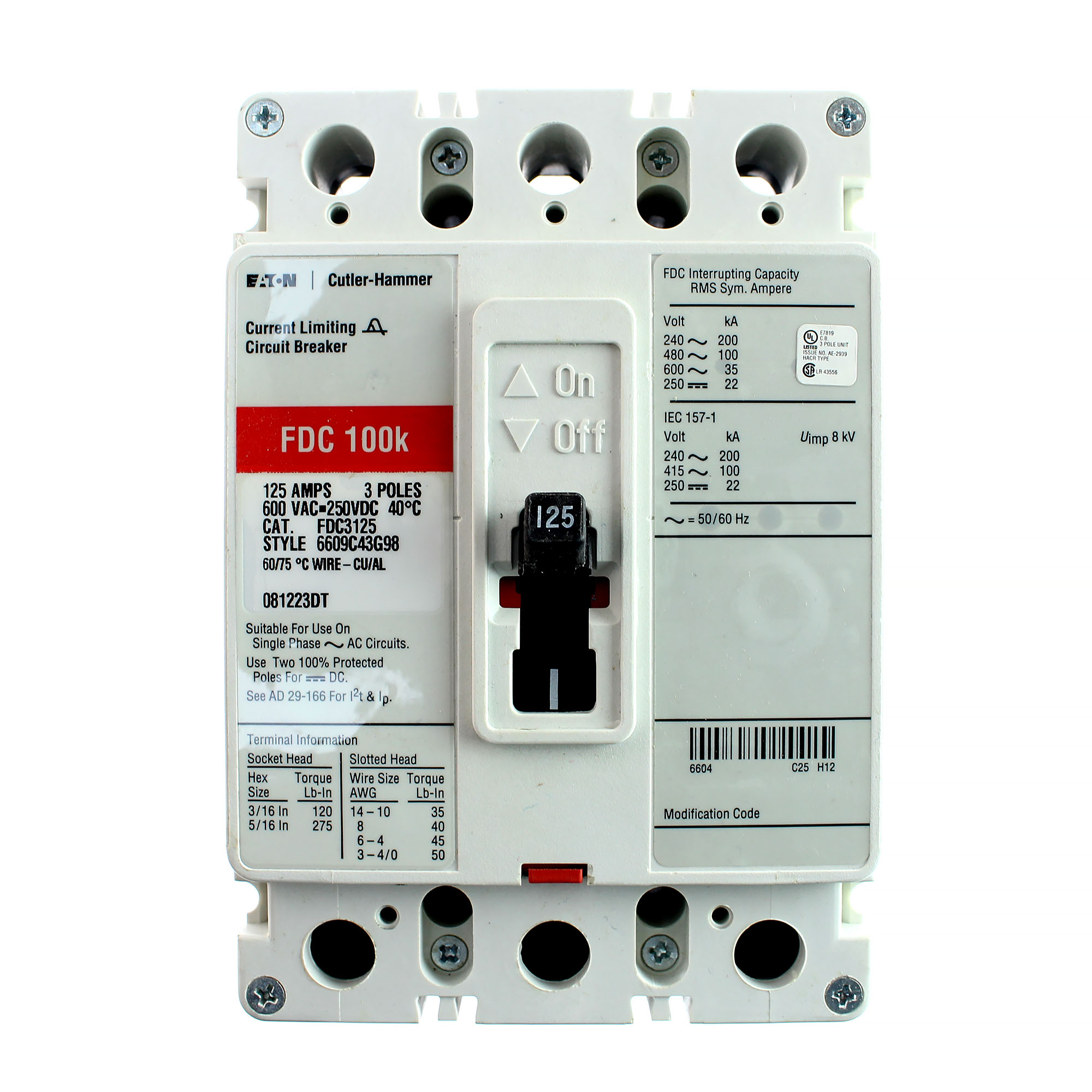 Cutler-Hammer FDC3125 125 Amp Glossy Breaker 125A 600V FDC Westinghouse FDC-3125