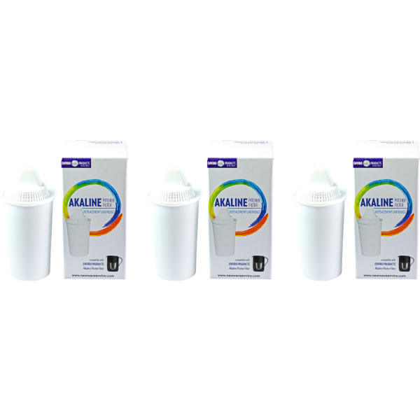 3-Pack Alkaline Water Filter Replacement Hard Metals Used for Pitcher Increase pH,7 Stage Ionized Water Filter Cartridge Replacement Water Filters Reduce Chloride