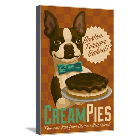 Boston Terrier - Retro Cream Pie Ad Stretched Canvas Print Wall Art By Lantern