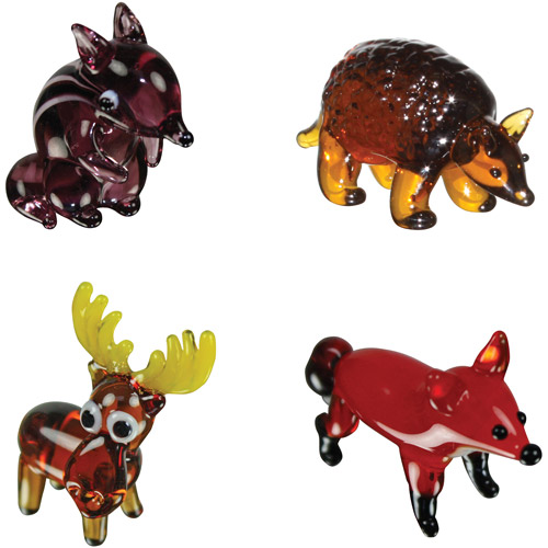 BrainStorm Looking Glass Miniature Glass Figurines, 4-Pack, Chipmunk/Armadillo/Moose/Fox