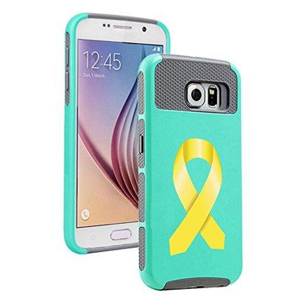 For Samsung Galaxy (S6 Edge) Shockproof Impact Hard Soft Case Cover Childhood Cancer Bladder Cancer Color Awareness Ribbon (Teal - Teal Ribbon Awareness