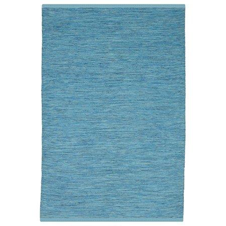 Fab Habitat, Indoor Outdoor Floor Rug - Handwoven, Made from Recycled Plastic Bottles - Cancun - Blue (2' x 3') ()