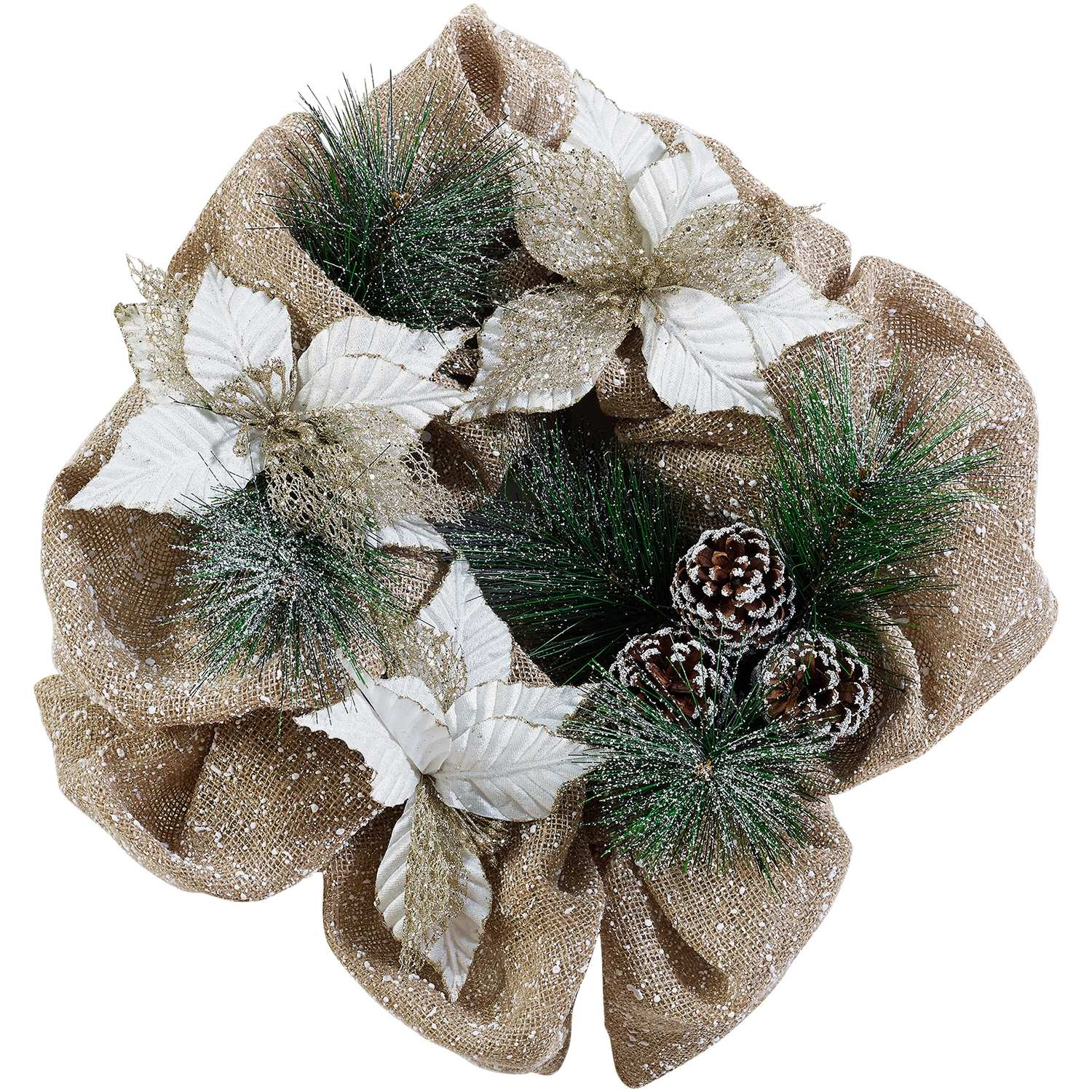 Holiday Time 20-Inch Mesh Wreath, Pinecone and Poinsettias with Burlap Ribbon