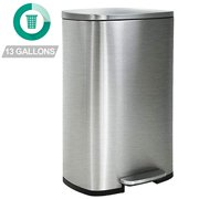 Kitchen Trash Can With Lid For Office Bedroom Bathroom Step Trash Bin Fingerprint-Proof Garbage Bin Brushed Stainless Steel 13 Gallon / 50 Liter