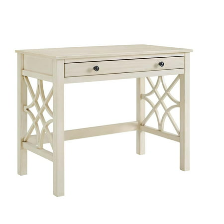 Linon Whitley Desk, Antique White, with Full Length Easy Glide Drawer - Linon Whitley Desk, Antique White, With Full Length Easy Glide