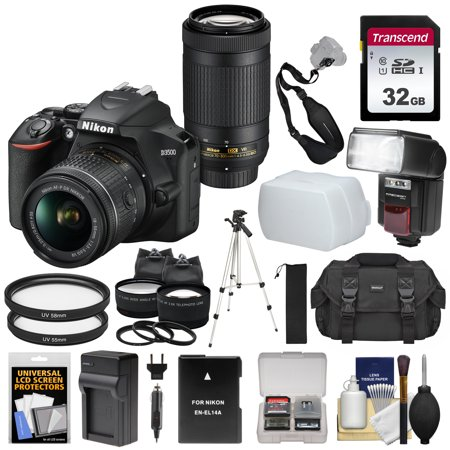 Nikon D3500 Digital SLR Camera + 18-55mm VR + 70-300mm DX AF-P Lenses with 32GB Card + Case + Battery + Charger + Flash + Tripod + 2 Lens