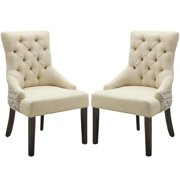 A Line Furniture Vaughan Script Design Button Tufted Accent Chair with Nail Head Trim (Set of 2)
