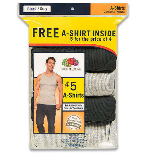Bonus Pack! Fruit of the Loom Men's Fashion A-Shirts, Bonus 4 1 Pack