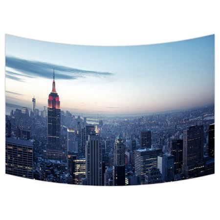 ZKGK New York City Skyline Tapestry Wall Hanging Wall Decor Art for Living Room Bedroom Dorm Cotton Linen Decoration 90x60 Inches