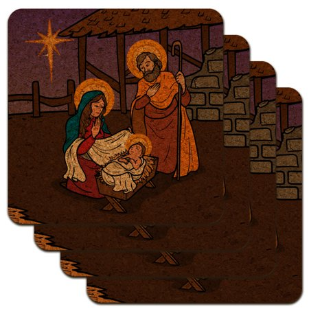 Nativity Scene Baby Jesus Mary Joseph Christmas Christian Bible Low Profile Novelty Cork Coaster Set