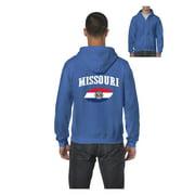 Missouri State Flag Men Full-Zip Hooded Sweatshirt