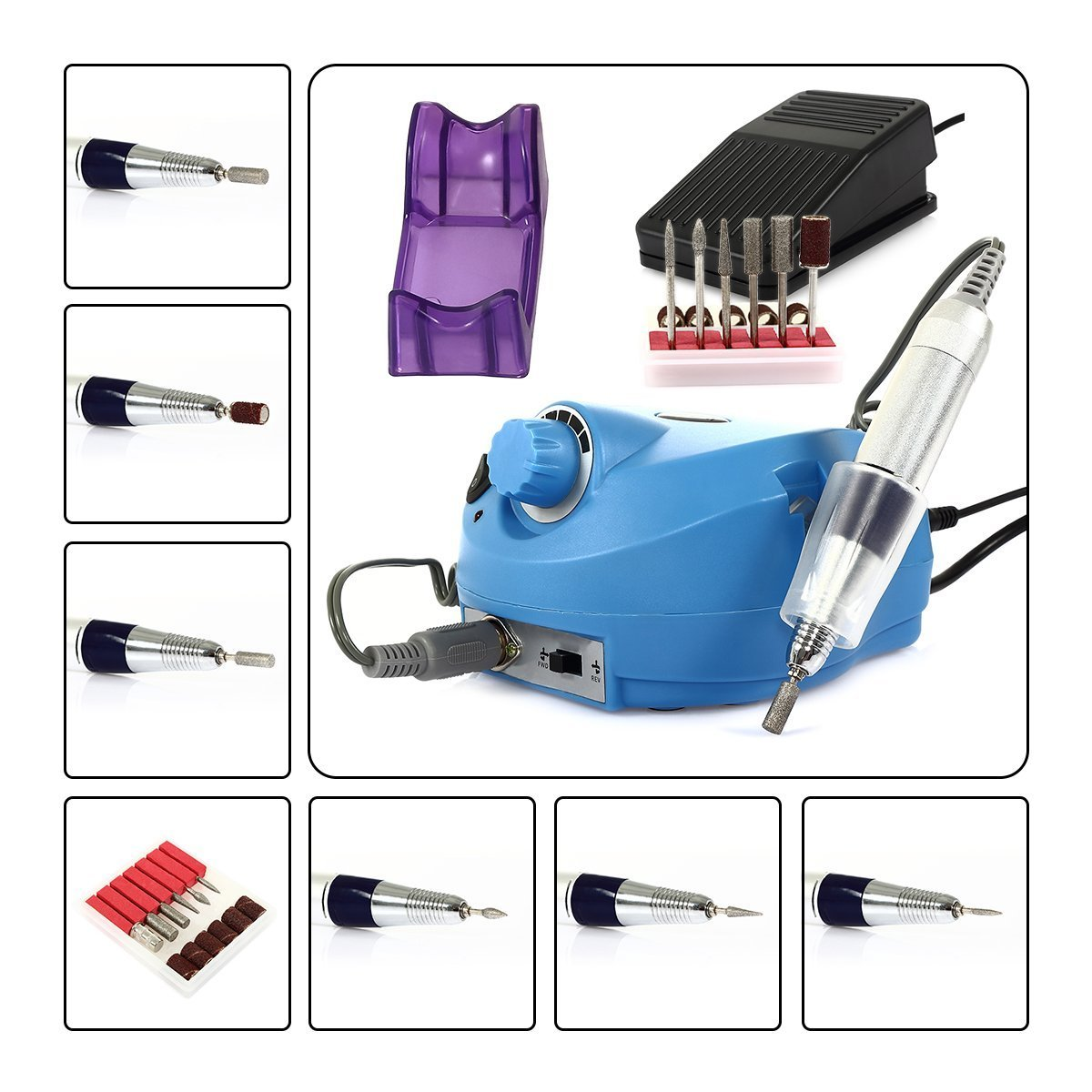 CoastaCloud Electric Nail Drill File Machine 110V 18000-30000RPM Professional Nails Salon Manicure Pedicure Grooming Kits with Pedal Blue