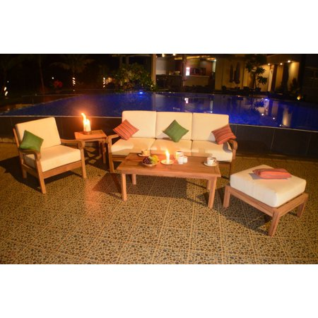 5 PC A Grade Outdoor Patio Teak Sofa Set - 3-Seater Sofa, 1 Chairs, 1  Rectangle Coffee Table, 1 Side Table & 1 Ottoman with Sunbrella Fabric  Cushions ...