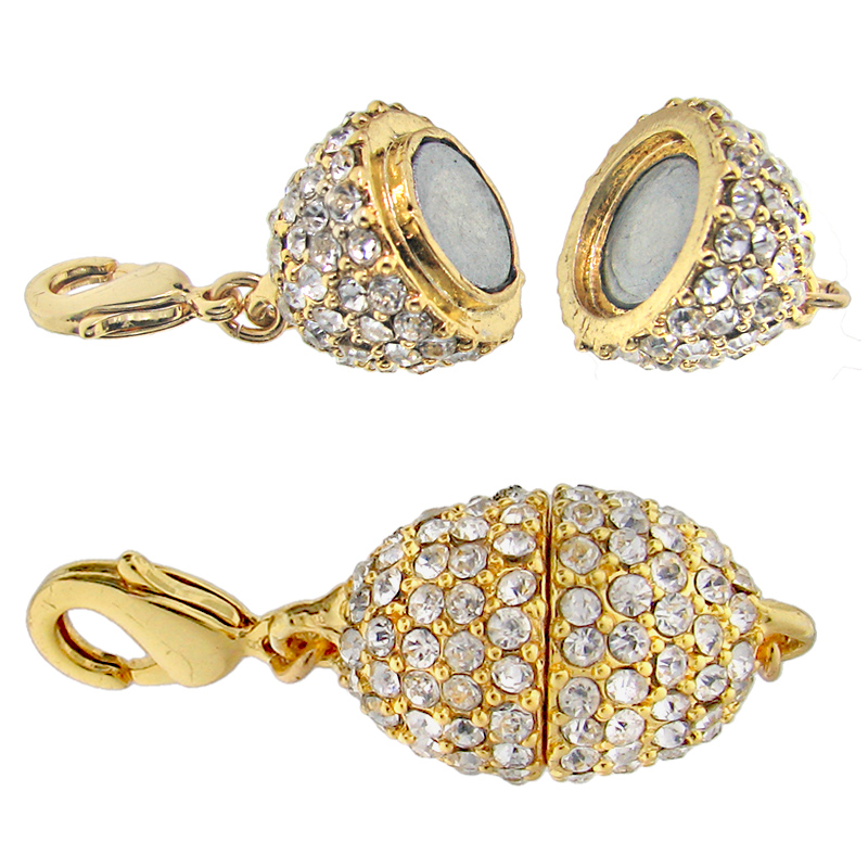 Beadelle Crystal Oval Pave Magnetic Clasp Gold Plated / Crystal 13x18mm (1 Pc)