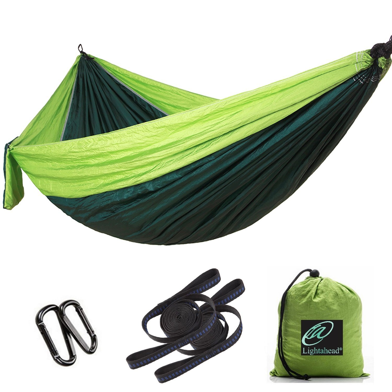 Elegantoss Camping Hammock Single Parachute Portable Including 2 Straps with Loops & Carbines– Heavy Duty Lightweight Nylon,Best Parachute Hammock For Camping,Travel, Beach(Dark Green/Fruit Green)