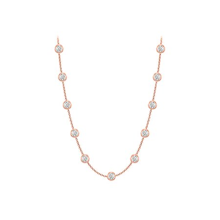 Diamonds Necklace in 14K Rose Gold Bezel Set 0.50 ct.tw - image 1 of 2