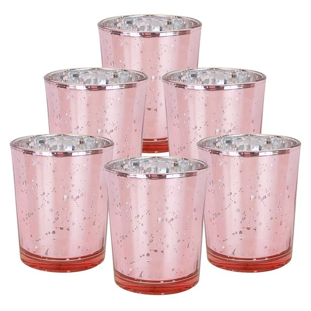 "Just Artifacts Mercury Glass Votive Candle Holder 2.75""H (6pcs, Speckled Blush) -Mercury Glass Votive Tealight Candle Holders for Weddings, Parties and Home Decor"