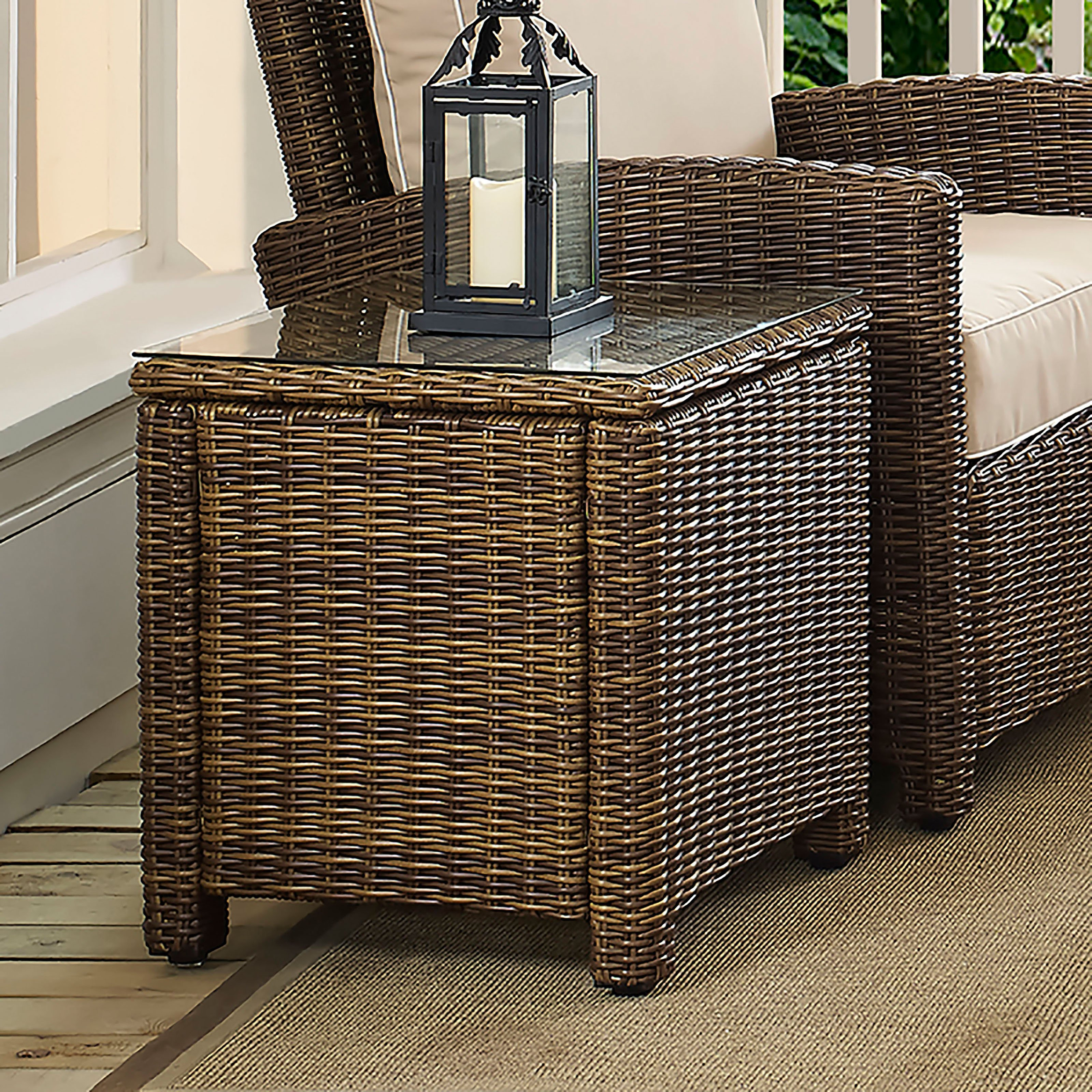 Crosley Furniture Bradenton Outdoor Wicker Rectangular Side Table