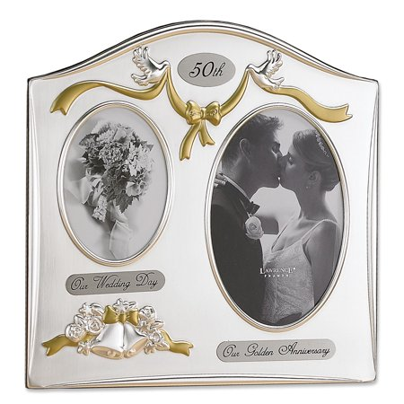 Satin Silver and Brass Plated 2 Opening Picture Frame - 50th Anniversary Design