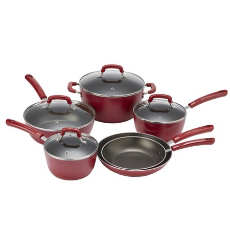Mainstays 10-Piece Non-Stick Cookware Set, Red